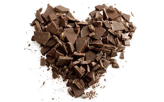 Wallpaper Chocolate love heart, white background