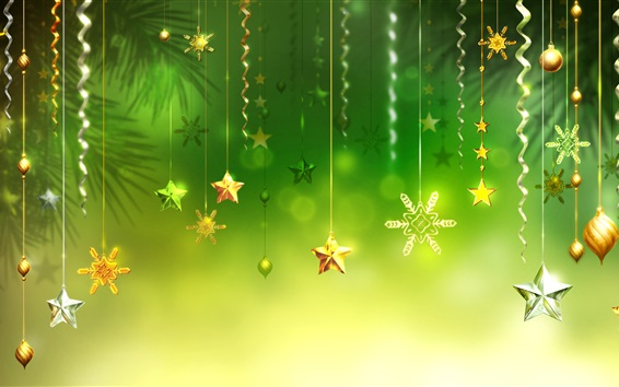 Wallpaper Christmas decorations, green background, stars, balls, snowflake
