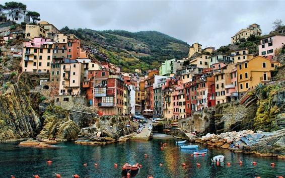 Fond d'écran Cinque Terre, Italie, jetée, bateaux, maisons