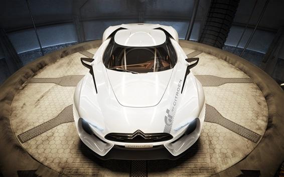 Wallpaper Citroen GT concept white supercar front view