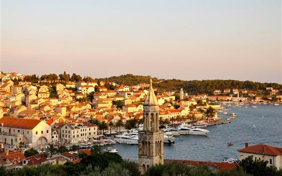 Wallpaper City, houses, island, resort, boats, sea, Croatia