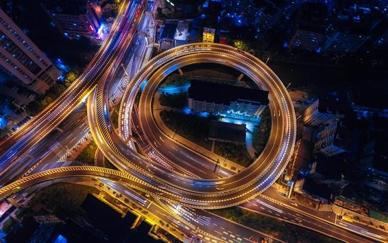 Обои Город, ночь, дорога, движение, огни, вид сверху