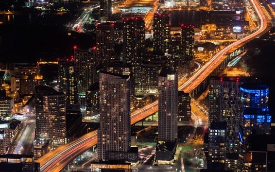 Wallpaper City, night, skyscrapers, buildings, road, lights