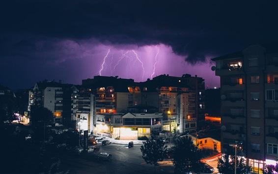 壁紙 都市、夜、嵐、雷、建物