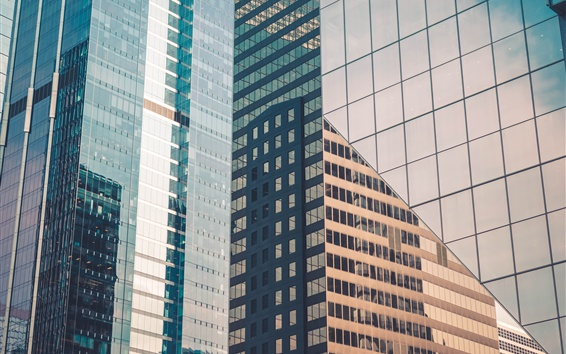 Wallpaper City, skyscrapers, glass windows, Chicago, USA