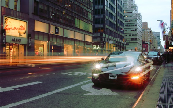 Wallpaper City, street, cars, light, dusk