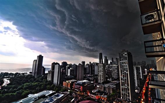 Papéis de Parede Cityscapes, Chicago, nuvens negras, cidade, EUA
