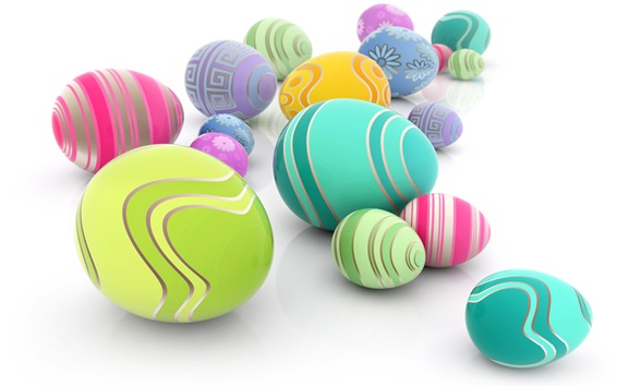 Wallpaper Colorful eggs, white background, Easter