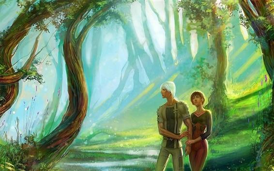 Papéis de Parede Casal, garota e menino, floresta, imagem de arte