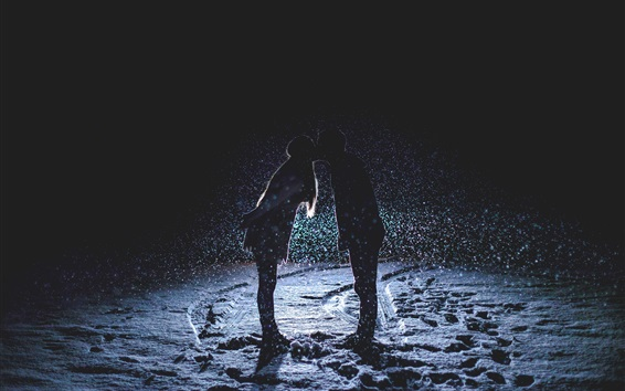 Wallpaper Couple love kiss, night, snowfall, snow