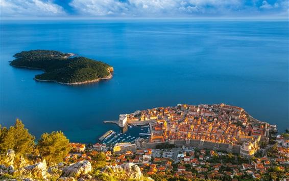Wallpaper Croatia, Dubrovnik, sea, island, houses, buildings