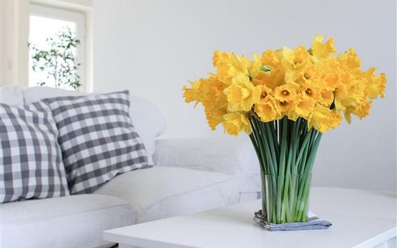 Wallpaper Daffodils, yellow flowers, home, table, sofa
