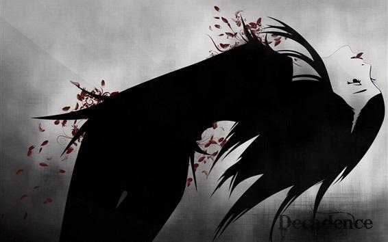 Fond d'écran Décadence, fille, style noir, dessin artistique