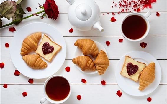 Fond d'écran Petit-déjeuner délicieux, thé, pain