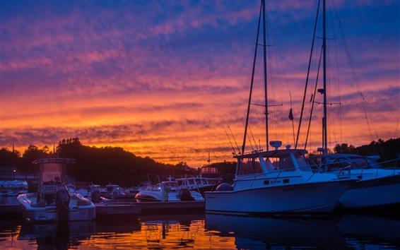 Fond d'écran Dock, yachts, bateaux, coucher de soleil