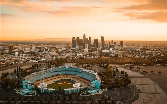 Fond d'écran Centre-ville, Los Angeles, ville, crépuscule, États-Unis