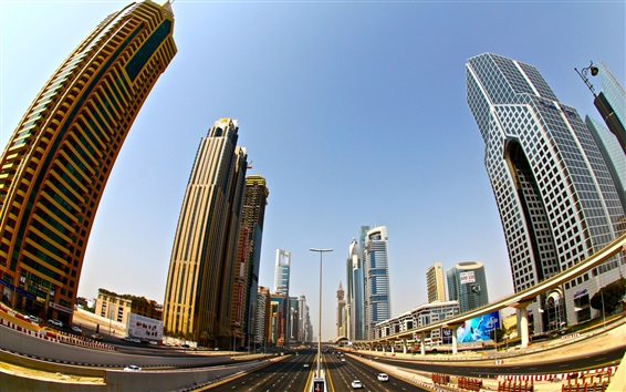Обои Дубай, небоскребы, дорога, город, здания