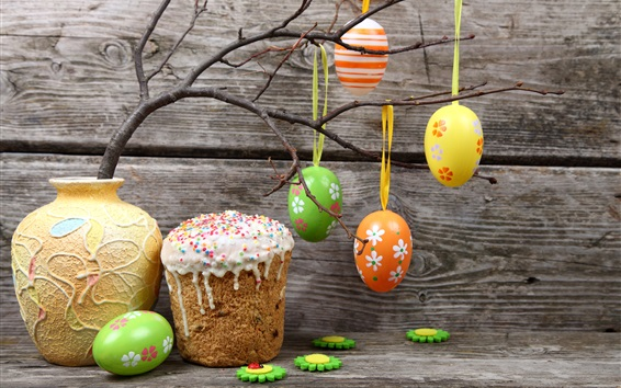 Wallpaper Easter eggs, colorful, twigs, vase