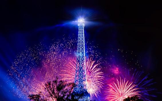 Wallpaper Eiffel Tower, holiday night, lights, fireworks, France