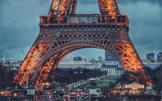 Wallpaper Eiffel Tower, night, lights, Paris, France