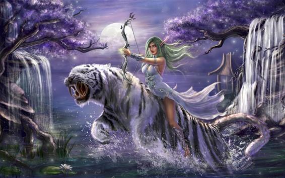 Hintergrundbilder Fantasy Mädchen, grünes Haar, Elf, Bogen, weißer Tiger, Kunst Zeichnung
