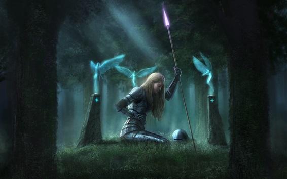 Обои Девушка-фантазия, рана, кровь, доспехи, копье, ангел