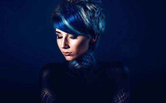 Papéis de Parede Moda menina, maquiagem, fundo azul escuro
