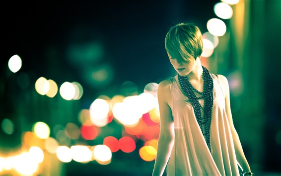 Wallpaper Fashion girl, night, street