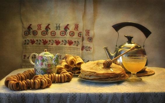 Wallpaper Food, pancakes, kettle, honey