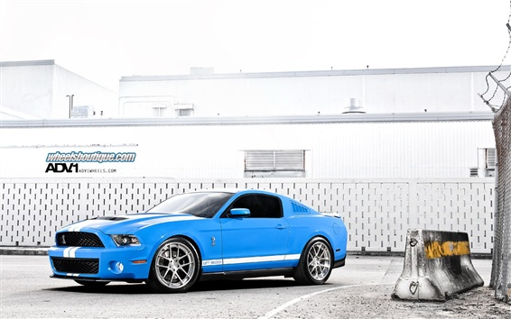 Wallpaper Ford Mustang Shelby GT500 blue supercar side view