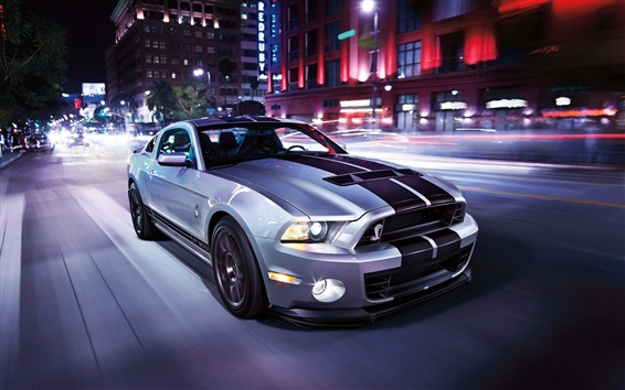 Wallpaper Ford Mustang Shelby GT500 supercar, speed, road, city