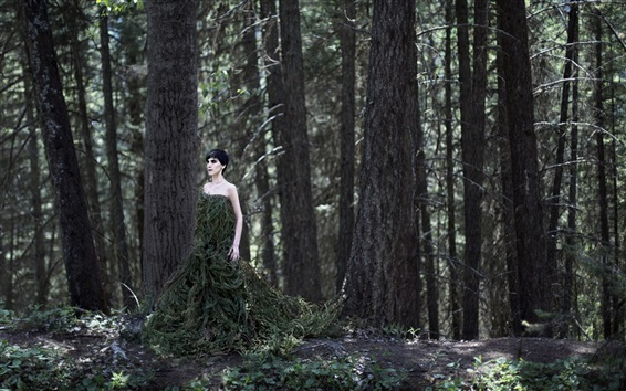 Wallpaper Forest girl, twigs skirt