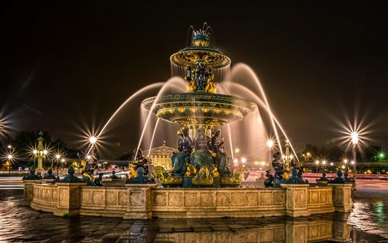 Papéis de Parede França, Paris, fonte, escultura, noite