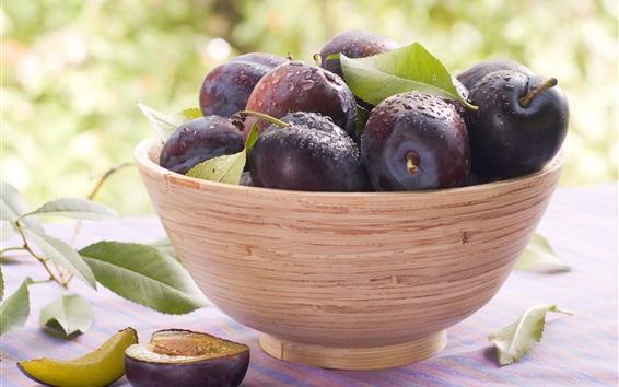 Wallpaper Fresh plums, bowl