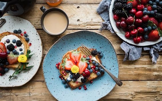 Fond d'écran Sandwich aux fruits, baies, fraises, cerises, petit-déjeuner