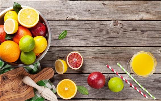 Обои Фрукты, апельсины, липы, грейпфруты, древесная плита