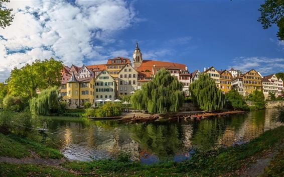 Fond d'écran Allemagne, Bade-Wurtemberg, rivière, bateaux, arbres, maisons