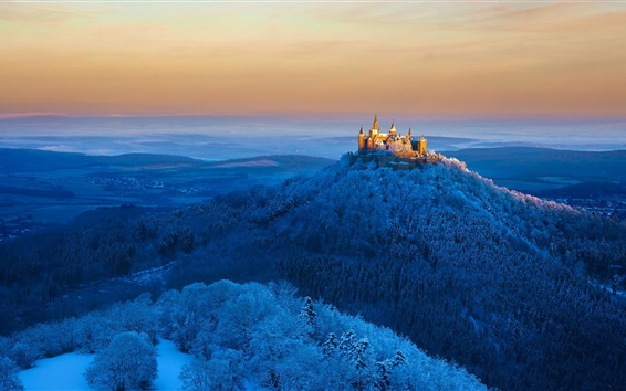 Papéis de Parede Alemanha, castelo Hohenzollern, montanhas, árvores, neve, inverno