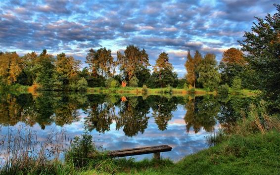 배경 화면 독일, 연못, 나무, 하늘, 구름, 자연