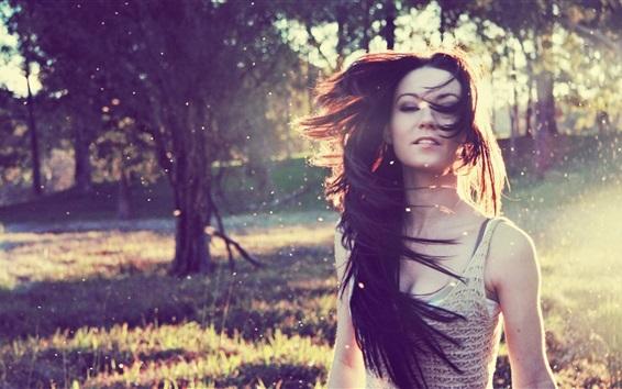 Wallpaper Girl hair flying, wind, nature, trees, sunshine