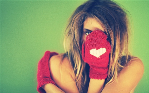 Wallpaper Girl hidden her face, glove, love heart