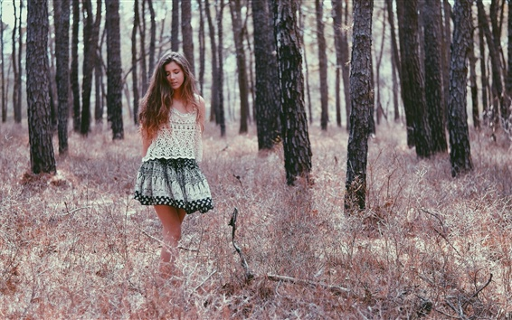 Wallpaper Girl walk in forest