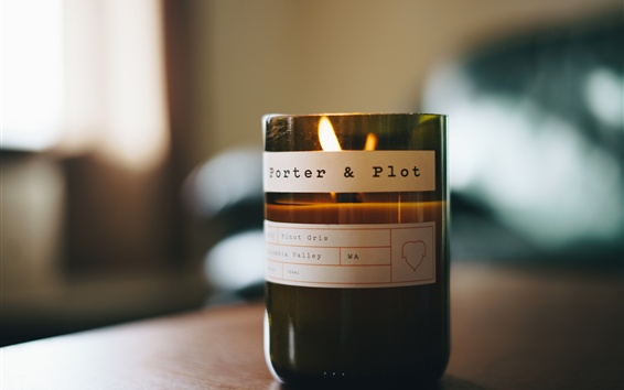 Wallpaper Glass bottle, candle