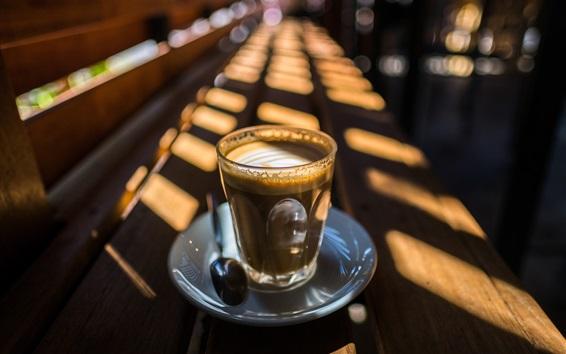Wallpaper Glass cup, coffee, sunlight