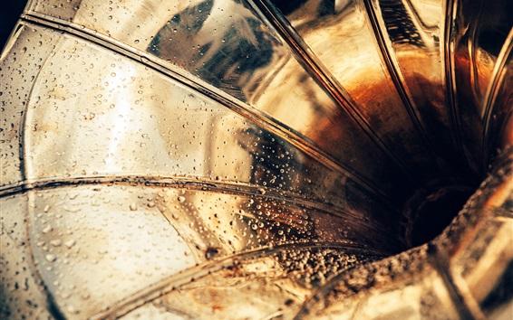 Fond d'écran Tubes Gramophone, haut-parleur, gouttes d'eau