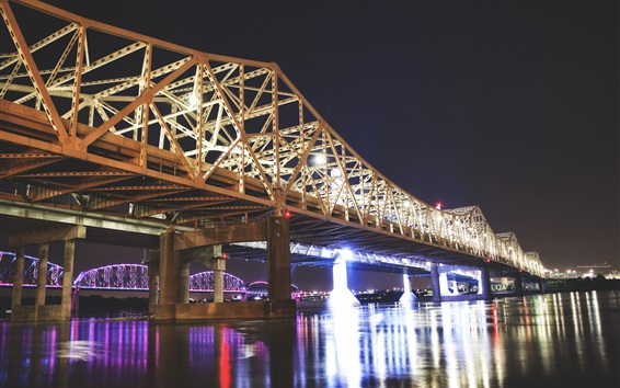 Wallpaper Great Bridge, Louisville, USA, night, lights, river