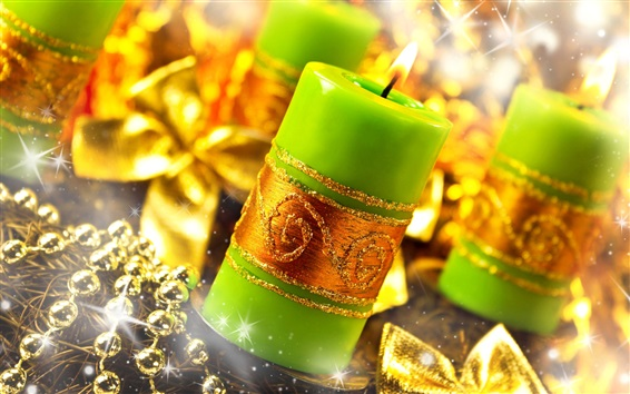 Обои Зеленые свечи, пламя, огонь, золотой стиль, рождественское украшение