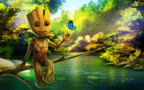 Fondos de pantalla Guardianes de la Galaxia 2, Groot, cuadro de arte
