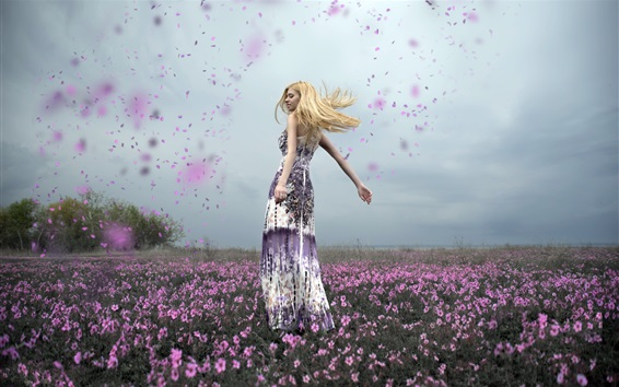 Wallpaper Happy blonde girl, dance, flowers, petals flying