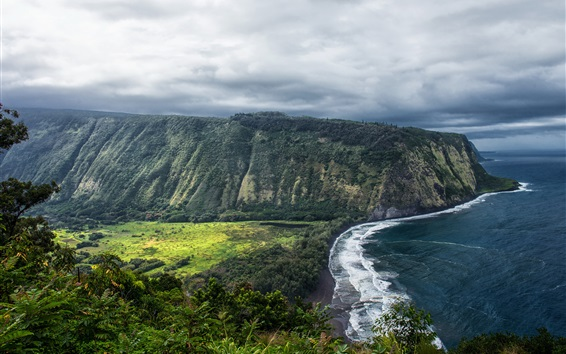 Wallpaper Hawaii, Waipio Valley, beautiful landscape, sea, coast, USA